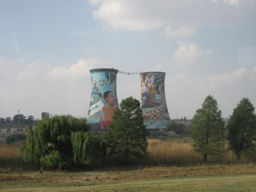Murals on towers
