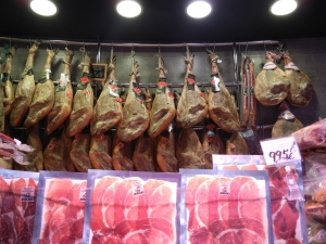 Jamon for sale at Mercado San Miguel (Madrid)