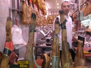 Jamon Iberico de bellota for sale at Mercat Central (Valencia)