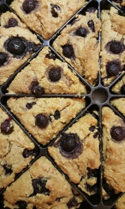Blueberry scones (gluten-free); sweetened with coconut nectar