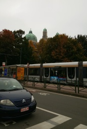 Metro stop with Basilica in background