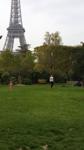Playing in a park near La Tour Eiffel