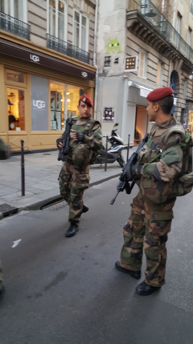 Soldiers patrolling the Marais