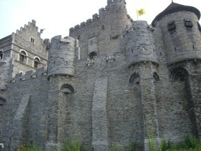 Gravensteen Castle with the Flemish flag