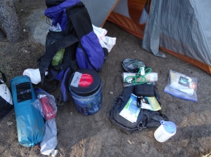Re-packing the backpack - First morning - Yosemite